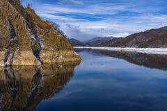 Landscape with dam lake Vidraru. In Romania stock photography