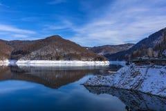 Landscape with dam lake Vidraru. In Romania royalty free stock photography