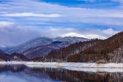 Landscape with dam lake Vidraru. In Romania stock images