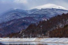 Landscape with dam lake Vidraru. In Romania royalty free stock photos