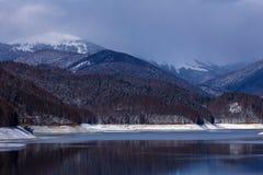 Landscape with dam lake Vidraru. In Romania royalty free stock images
