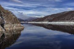Landscape with dam lake Vidraru. In Romania stock photo