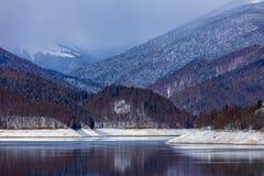 Landscape with dam lake Vidraru. In Romania royalty free stock image