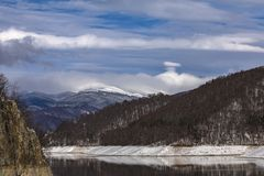 Landscape with dam lake Vidraru. In Romania royalty free stock photo