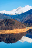 Landscape with dam lake Vidraru, in Romania Royalty Free Stock Photos