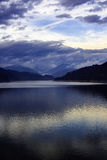 Landscape with dam lake Vidraru in Romanian mountains, in the wi Royalty Free Stock Photo