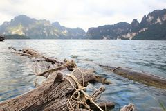 Landscape of dam with limestone mountain Stock Photos