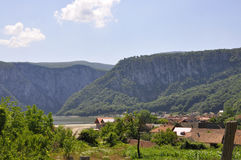Landscape with Danube at Cazane Gorge in Romania stock photo