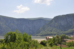 Landscape with Danube at Cazane Gorge in Romania stock image