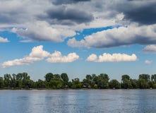 Landscape Danube river. Danube river Belgrade Serbia, beautiful clouds Stock Image