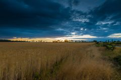 Landscape with dark stormy sky over fields at twilight Royalty Free Stock Photos