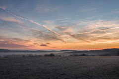 Landscape at dawn - amazing sky colors Royalty Free Stock Images
