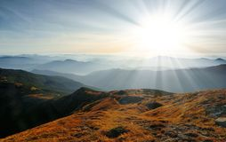 Landscape with a dawn in mountains Stock Photo
