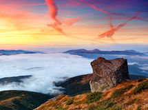 Landscape with a dawn in mountains. Mountain landscape with the beautiful sky and clouds at a dawn. Mountains Carpathians, Ukraine Royalty Free Stock Image