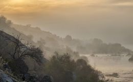 Landscape of dawn over the river. royalty free stock images