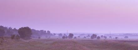 Landscape at dawn. Panorama. Tinted photo. Morning Stock Photo