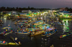 Landscape dawn on the river floating market at night Royalty Free Stock Photo