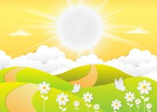 Landscape Daytime sky background with Summer, clouds and sun. sunlight morning. Vector royalty free illustration