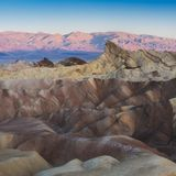 Landscape of Death Valley National Park at Zabriskie Point in the morning. Picturesque of a desert. Erosional landscape stock photography