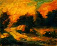 Landscape with decline and haystacks, painting. By oil on canvas, illustration stock illustration