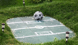 Landscape decoration football field with ball of flowers Stock Photos