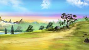 landscape den ensamma treen Royaltyfria Foton
