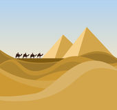 Landscape With Desert And Caravan Royalty Free Stock Images