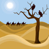 Landscape of desert. Illustration with desert landscape, dried tree, two silhouettes of vultures and caravan on horizon. Vector file is eps8, layered and grouped Royalty Free Stock Photography
