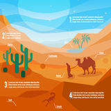 Landscape of desert life - sand hills with cactuses,  nomad and animals. Desert infographics. Landscape of desert life - sand hills with cactuses,  nomad and Stock Photography