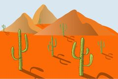 The landscape of the desert. Orange sand, dunes, green cacti, blue sky, shadow, sunny day, design element, background. Vector Royalty Free Stock Photos