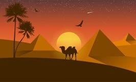 Landscape desert silhouette Stock Image
