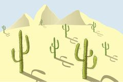 The landscape of the desert. Yellow sand, dunes, green cacti, blue sky, shadow, sunny day, design element Stock Photos