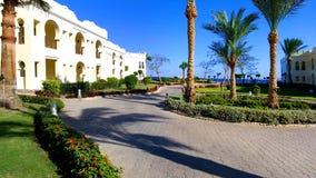 Hotel landscape Egypt. Landscape design Bedouin house Egypt Royalty Free Stock Photo