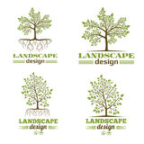 Landscape design company emblems. Tree with roots logo Stock Photography