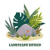 Landscape design composition with plant and stones. Cute floral composition for greeting card, banner, flyer, app, website on. Ecological, botanic, landscape stock illustration