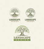 Landscape Design Creative Vector Concept. Tree With Roots Inside Circle Organic Sign Set On Craft Paper Background. Landscape Design Creative Vector Concept royalty free illustration