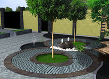 Landscape design decorative fountain, 3D render. Natural character of the site into the design. Green design features Royalty Free Stock Photo