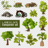 Landscape  Design Elements Set Transparent Background. Modern gardening landscape natural elements collection with stones wood and tropical plants on transparent Stock Photo