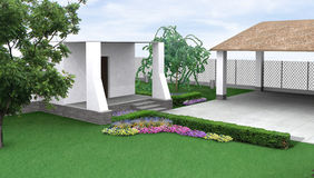 Landscape design garden flowerbed, 3D render. Natural character of the site into the design. Green design features. Example of rustic style landscaping Stock Images