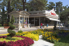 Landscape design about Italian restaurant Santa Fe on the waterfront in Gelendzhik, Krasnodar region, Russia Royalty Free Stock Image