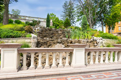 Landscape design with marble fence Stock Photos