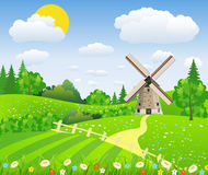Landscape design over sky background,. Vector Illustration of a farmhouse above the hills with a windmill Stock Photography