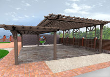 Landscape design patio hardscapes, 3D render. Natural character of the site into the design. Ornamental pattern in patio paving Royalty Free Stock Image