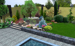 Landscape design plant groupings, 3D render Royalty Free Stock Photos