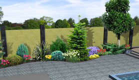 Landscape design plants grouping, 3D render. Natural character of the site into the design. Green design features Royalty Free Stock Photo