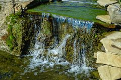 Landscape design of pond waterfall Royalty Free Stock Image
