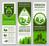 Landscape design service vector banners set Royalty Free Stock Photography