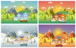 Landscape design set with Winter, Spring, Summer, Autumn. Stock Images
