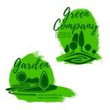 Landscape design studio emblem set with green tree Royalty Free Stock Photography