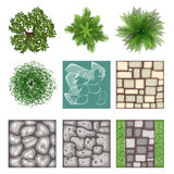 Landscape design top view vector elements Royalty Free Stock Photos